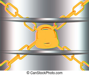 gold chains and padlock on white background 3D illustration...