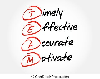TEAM - Timely, Effective, Accurate, Motivate, acronym...