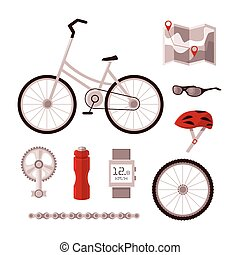 Set bicycle accessories - Set cyclist vector set for...