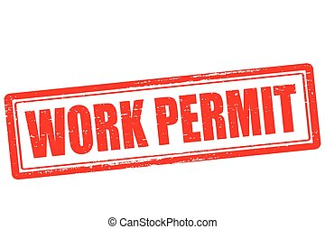 Work permit - Rubber stamp with text work permit inside,...