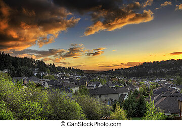 Sunset Sky at the Suburbs - Sunset at the Suburbs in Happy...