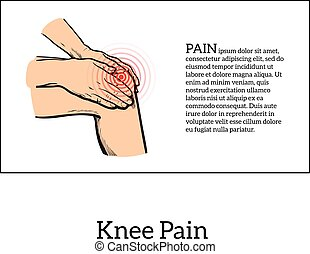 Color illustration of knee pain Hands holding leg - Painted...