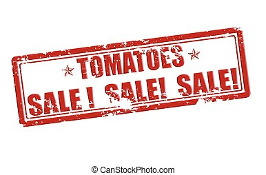 Tomatoes sale - Rubber stamp with text tomatoes sale inside,...