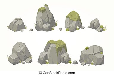 Collection of vector boulders - Collection of vector stone...