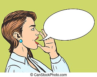 Woman shouts with hand pop art style vector - Woman shouting...