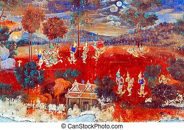 Painted wall Royal Palace Pnom Penh, Cambodia - Painted wall...