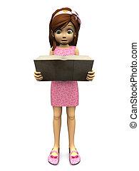 Cute cartoon girl reading book.