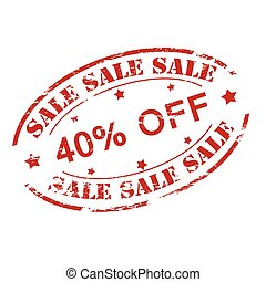 Sale fourty percent off - Rubber stamp with text sale fourty...