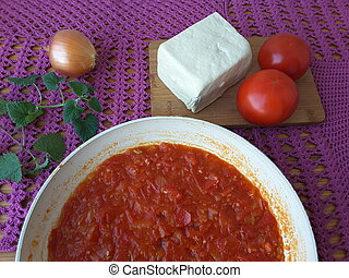 Tofu tomato onion melissa, cooking food for a vegetarian...