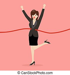 Business woman running at the finish line