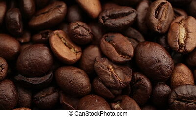 Dolly passing by coffee beans background