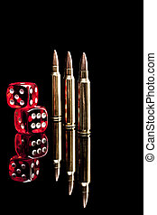 Bullets and Dices - Bullets isolated on black background...