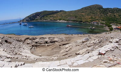 Knidos amphitheater and majestic sea, datca, turkey -...