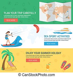 Three banners concept summertime vacation