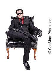 asesino, Sentado, en, chair.,