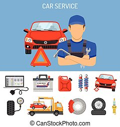 Car Service Concept with Flat Icons for Poster, Web Site,...
