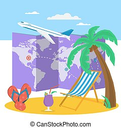 Travel time at summer concept - Vector summertime vacation...