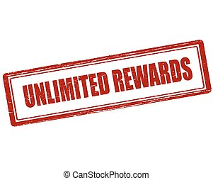 Unlimited rewards - Rubber stamp with text unlimited rewards...