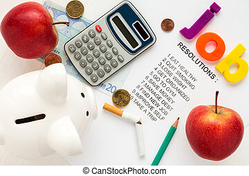 Office supply on list of resolutions - Piggy-bank,apples and...
