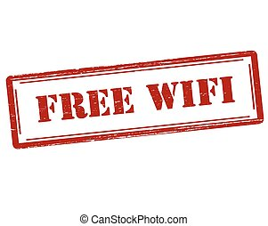 Free wi fi - Rubber stamp with text free wi fi inside,...