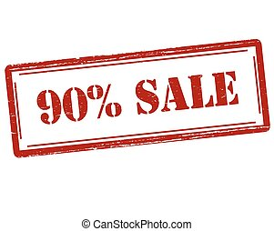 Ninety percent sale - Rubber stamp with text ninety percent...