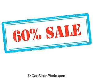 Sixty percent sale - Rubber stamp with text sixty percent...