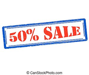 Fifty percent sale - Rubber stamp with text fifty percent...