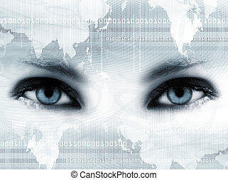 Bue eyes and map
