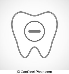 Line art tooth icon with a subtraction sign - Illustration...
