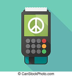 Long shadow dataphone with a peace sign - Illustration of a...