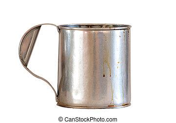 Aluminium bucket isolated on white background