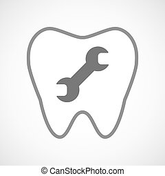 Line art tooth icon with a wrench - Illustration of a line...