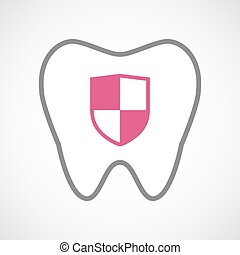 Line art tooth icon with a shield