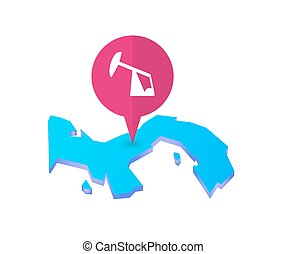 Map of Panama with a map marker and a horsehead pump -...
