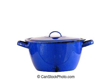 Blue enamel pot isolated on white background.