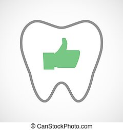 Line art tooth icon with a thumb up hand