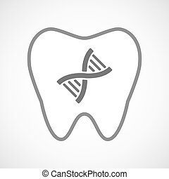 Line art tooth icon with a DNA sign