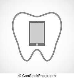 Line art tooth icon with a smart phone