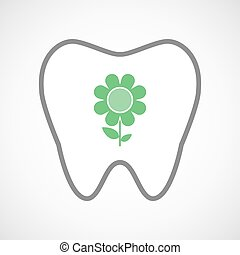Line art tooth icon with a flower