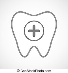 Line art tooth icon with a sum sign - Illustration of a line...