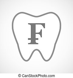 Line art tooth icon with a swiss franc sign - Illustration...