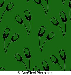 Seamless pattern with bulrushes illustration green...