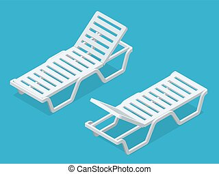 Beach chairs isolated on white background Plastic beach...