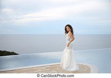 Beautiful Bride in wedding dress, outdoor portrait -...