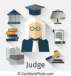 Judge flat icon Justice vector symbols - Judge flat icon...