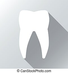 White tooth with long shadow effect. Vector background