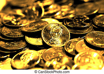 Gold Coins for Wealth and Riches - Pile of old coins...