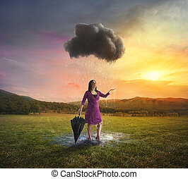 Single cloud raining on a woman - A woman gets soaked by a...