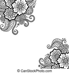 Flower vector ornament corner - Black flower corner, lace...