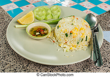 Fried rice with pork, Thai food